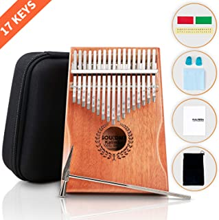 SOUIDMY Kalimba Thumb Piano, 17 Key Kalimba Finger Piano with Protective Box, Tune Hammer, Study Instruction, Portable Mbira instruments for Adults, Gifts for Musicians Beginners Kids