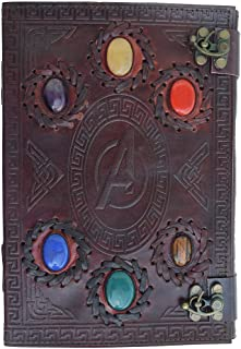 Avengers embossed 10 inches Handmade Leather Journal With Stones/Art Sketchbook & Travel diary with Vintage lock Latch