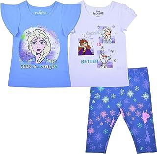 Disney Girl's 3 Pack Frozen Short Sleeves Tee Shirts and Leggings Set for Kids