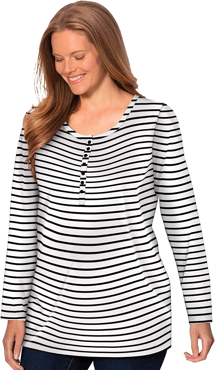 Perfect Collection Womens Plus Size Perfect Printed Long-Sleeve Henley Tee Polo Shirt