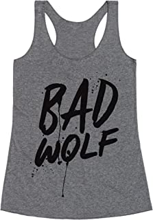 LookHUMAN Doctor Who Bad Wolf Heathered Gray Women's Racerback Tank