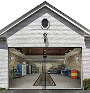 Magnetic Garage Screen Door for Single Garage Doors 8x7FT- Reinforced Fiberglass Door Screen Curtain for Garage Door,Hands Free Magnetic Screen Door