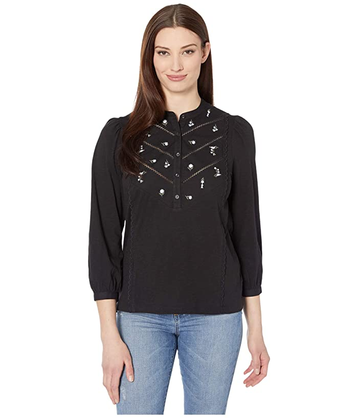 Lucky Brand  3/4 Sleeve Henley Embroidered Top (Lucky Black) Womens Clothing