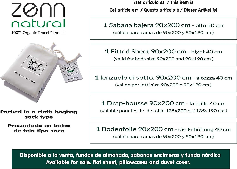 Anallergico Zenn Natural Lenzuolo con angoli Ecologico 100/% Tencel Lyocell Avorio, 90 x 200 cm 4 stagioni Extra morbido Traspirante