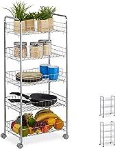Relaxdays Regał na kółkach, 5 poziomów, 4 kółka, uniwersalny wózek do kuchni, łazienki, biura, wózka na kółkach wys. x sze...