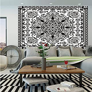 SoSung Ethnic Huge Photo Wall Mural,Ethnic Mandala Floral Lace Paisley Mehndi Design Tribal Lace Image Art Print Decorative,Self-Adhesive Large Wallpaper for Home Decor 100x144 inches,Black and White