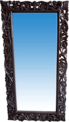 AWC Wood Crafts Wooden Hand Carved Decorative Wall Mirror Frame (Brown, Size 42x24 Inch)