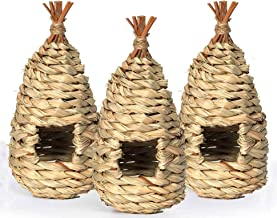 Bulking 3 Pack Hummingbird House Hand-Woven Hanging Bird Nest, Outside Grass Birdhouse, Natural Hummingbird Nest for Finch...