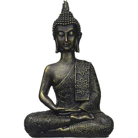 Zen'Light Statuette Bouddha Thai, Résine, Bronze, 6 x 13 x 21 cm