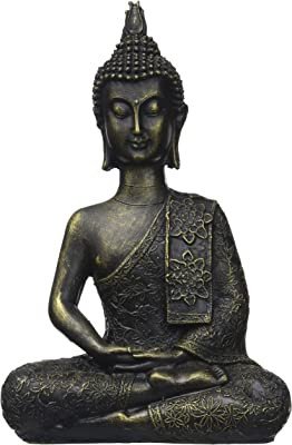 zen' Light Thai Buddha Figurine, Resin, Bronze, 10x 23x 30cm