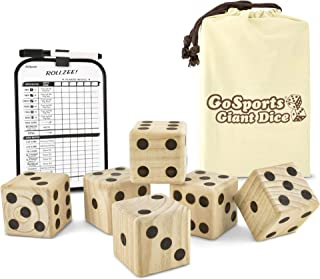 GoSports Giant Wooden Playing Dice Set with Bonus Rollzee and Farkle Scoreboard - Includes 6 Dice, Dry-Erase Scoreboard and Canvas Carrying Bag (Choose 2.5