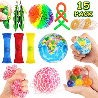 JVIGUE Sensory Toys Set- 15 Pack Stress Relief Hand Fidget Toys for Kids and Adults, Sensory Therapy Toys for ADHD Autism ...