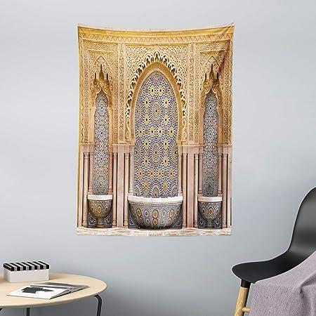Multicolore Vieille Porte avec des Fleurs ABAKUHAUS marocain Tapisserie pour la Chambre 140 x 230 cm