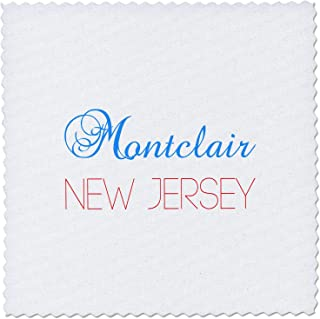 3dRose Alexis Design - American Cities New Jersey - Montclair, New Jersey, red, Blue Text. Patriotic Home Town Design - 16x16 inch Quilt Square (qs_300866_6)