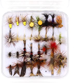 FAISOX Fly Fishing 30pcs Dry Flies Assortment Kit for Flyfishing Trout with Mini Box