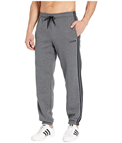 adidas Essentials 3-Stripes Fleece Open Hem Pants (Dark Grey Heather/Black) Men