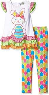 Girl's 4T Easter Bunny Egg Tiered Tunic and Leggings Outfit