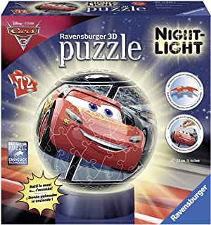 Cars 3 Puzzle Ball 3D Lámpara (Ravensburger 11820) , Modelos/colores Surtidos, 1 Unidad