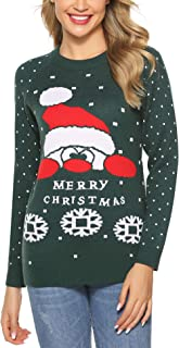 Aibrou Womens Ugly Christmas Sweater Merry Christmas Snowman Snowflakes Knitted Pullover Sweaters