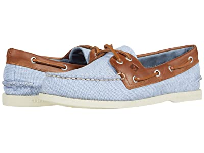 Sperry A/O 2-Eye Gingham (Blue/Tan) Men