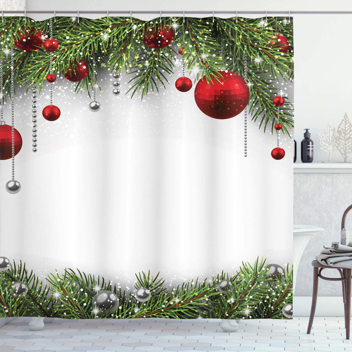Ambesonne Christmas Shower Curtain with Season Holiday sale Backdrop Max 46% OFF