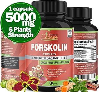 Organic Forskolin Extract Capsules 5000MG with Turmeric Curcumin, Arjuna, Garcinia Cambogia, Green Tea   Maximum Strength ...