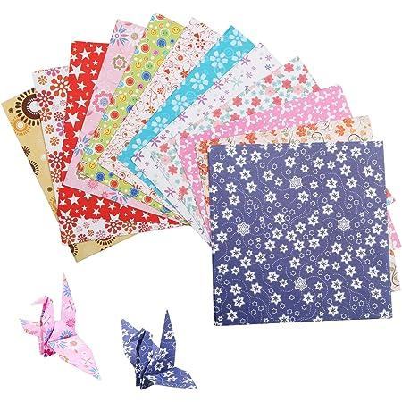 LAITER 144 Pcs Feuilles d'Origami Pour Enfant 15 x 15 cm Papiers Carré en 12 Styles Différentes pour Travail Manuel Assortiment de Papier pour DIY Artisanat