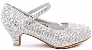 Apple Kids Sparkling Mary Jane Rhinestone Glitter Formal Dress Low Heel Pumps