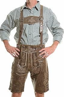 Men's Bavarian Lederhosen Rustic CRACKER - Oktoberfest Leather Trousers