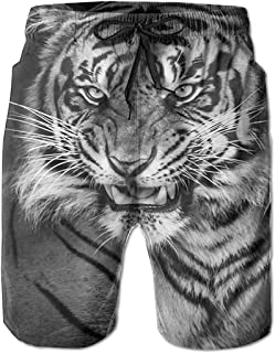 Tigre Casual Hombres Verano Surf Secado rápido Bañadores Shorts Pantalones de Playa con Bolsillo