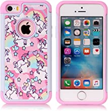iPhone 5S Case, iPhone 5 Case, Rainbow Unicorn Pattern Shock-Absorption Hard PC and Inner..