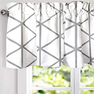 DriftAway Raymond Geometric Triangle Trellis Pattern Lined Thermal Insulated Energy Saving Window Curtain Valance for Living Room 2 Layers 52 Inch by 18 Inch plus 2 Inch Header Gray and White