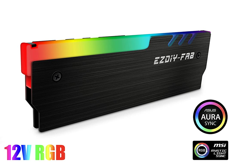 EZDIY-FAB 12V RGB Memory RAM Cooler DDR Heatsink for DIY PC Game Overclocking MOD DDR3 DDR4 (Compatible with ASUS Aura Sync, MSI Mystic Light Sync, ASRock Polychrome) - Black-1 Pack
