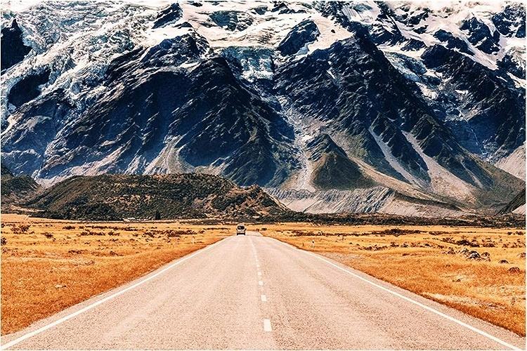 VIXI Stickers muraux Papier Peint Murale 3D Chambre Paysage Route Route Montagne Route Paysage Décoration de La Maison Art Decal Mural,300  210cm,