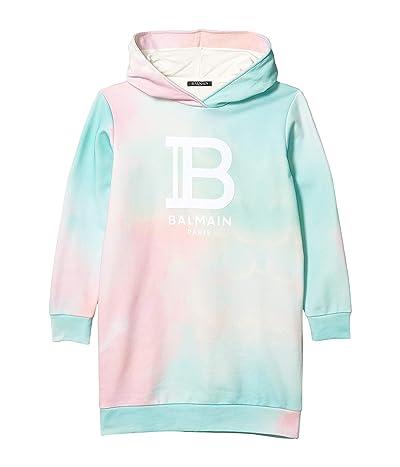 Balmain Kids Hooded Tie-Dye Dress w/ Logo (Little Kids/Big Kids) (Multi) Girl