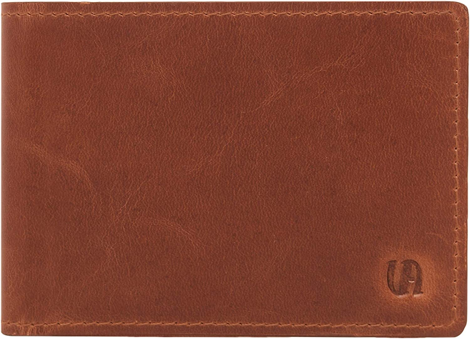 Men's Vintage Leather Slim Unlined Bill Fold Wallet with RFID Protection 3.2 x 4.2 inches Cognac V-élan