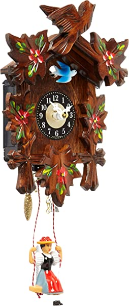 Alexander Taron 0126 6SQ Engstler Battery Operated Clock Mini Size With Music Chimes 6 75 H X 5 W X 2 75 D Brown