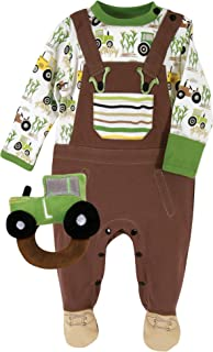 Stephan Baby Down on The Farm Cotton Knit Footie and Plush Tractor Rattle Gift Set, 0-3 Months