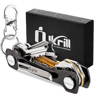Smart Key Holder Key Chain –Pocket Key Keeper and Compact Key Organizer up to 20 Keys with Stainless Steel Screws, Sim & Bottle Opener, Carabiner, Expansion Keys Pack (Black)