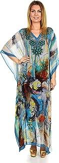 Women Summer Chiffon Kaftan w/Embellished Rhinestone Work V Neck   Caftan Dress   Cover Up