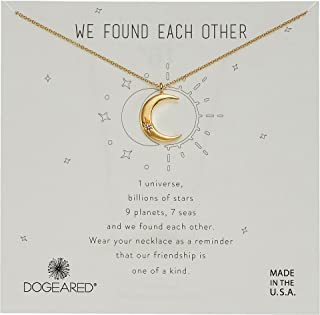 Dogeared Womens We Found Each Other, Crecent Moon with Crystal Necklace