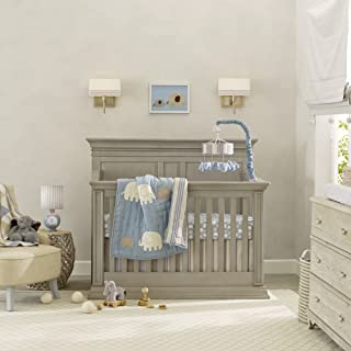 Lambs & Ivy Signature Elephant Tales 4 Piece Bedding Set - Blue/Gray
