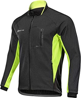 OUTTO Men's Windproof Fleece Cycling Jacket High Visible Water Resistant Winter Thermal Softshell