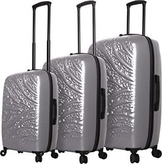 Mia Toro Italy Zebbra Jungle Hard Side Spinner Luggage 3 Piece Set, Silver, One Size