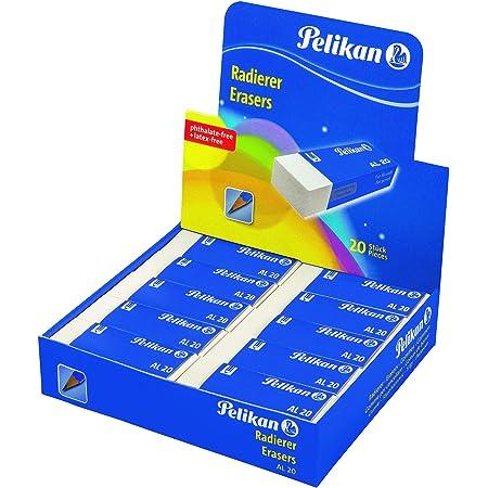 Pelikan 606046 Gomma AL 20 Bianca, Confezione Risparmio da 20 Pezzi, Adatta per Disegno Tecnico e Scolastico, Forma a Blocchetto, per Matita