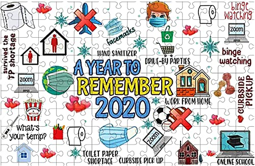 2021 OPTIMISTIC Puzzle 200 Pieces Wooden Jigsaw Puzzles 2020 Events Christmas Jigsaw Puzzles for Adults and Kids Stress Relief Educational Toy Home Collection Decorations lowest 2.5mm lowest in Thick (C) outlet online sale