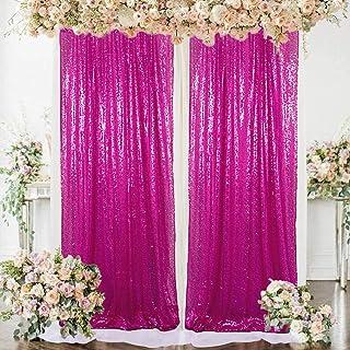 AMZLOKAE Curtains 2 Panels Hot Pink 2FTx7FT Glitter Backdrop Curtains Sequin Shower Curtain 84 inch Fuchsia Sequin Photogr...