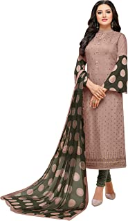 Rajnandini Women's Dusty Pink chanderi silk Embroidered Semi-Stitched Salwar Suit Material With Printed Dupatta (Free Size)
