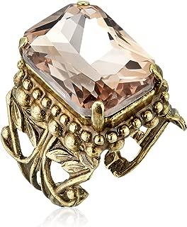 Emerald Cut Band Ring, Pink Peony