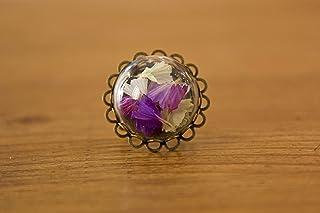 Anello di vetro 20mm - Limonio - Fiori naturali secchi di lavanda di mare - Regalo di San Valentino per donna